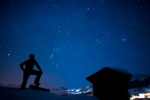 A man watches the sky during a cold night on the golf course in Arosa, Switzerland, late Friday, February 8, 2008. Arosa lies on 1800 Meter above sea level and is surrounded by mountains. This makes it an ideal place to watch stars. (KEYSTONE/Alessandro Della Bella)