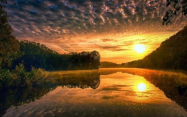 218404-nature-landscape-water-mist-liquid-lake-sunset-forest-calm-hill-clouds-yellow